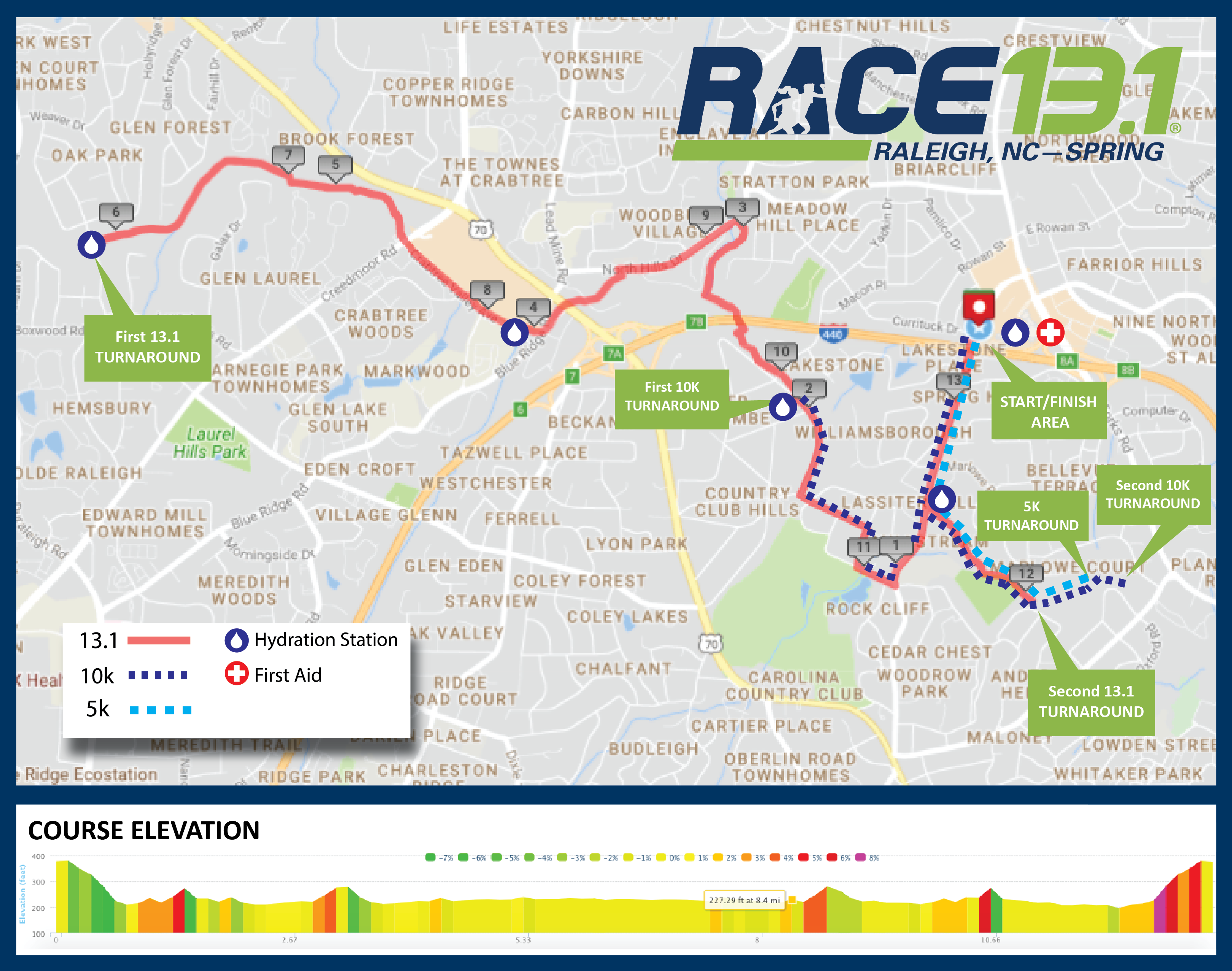 Race 13.1 Raleigh, NC - Spring | Course Maps